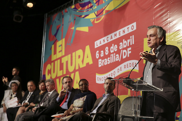 O ministro no lançamento da Lei Cultura Viva em Brasília, em abril de 2015. Foto: Janine Moraes