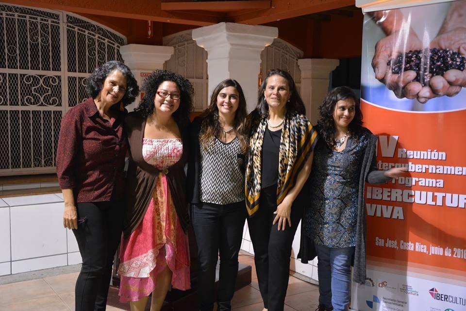 Fresia Camacho, Carolina Picado, Emília de la Iglesia, Sylvie Durán e Lula Martinez na abertura da IV Reunião Intergovernamental (foto: Dircultura MCJ)